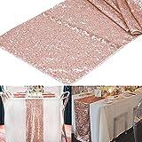 Yalulu 30 x 180 cm Glitzernden Pailletten Tischläufer Tischdecke Tischband für Hochzeit, Feier, Party, Evendekorationen (Roségold)