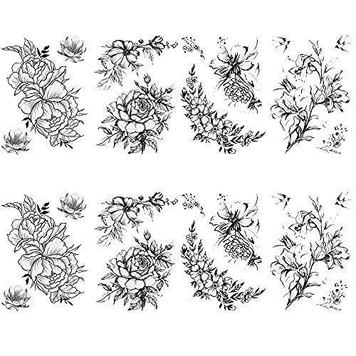 Tatuaggi temporanei per donna sexy 8 pezzi di tatuaggio grande tatuaggi falsi per ragazze bambini adolescenti tatuaggi corpo tatuaggi resistenti e duraturi - rose disegnate a mano in bianco e nero