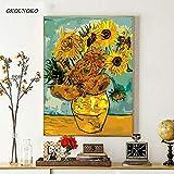 OKOUNOKO Digitales Malen Nach Zahlen Zeichnungsfärbung Bilder, Sonnenblume Sonnenblume, Modern DIY Kits, Kunstwerk Zuhause Einzigartig Dekoration Geschenk Frameless, 120X150Cm