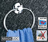 WENKO Magic-Loc Handtuchring - edler Handtuch Halter ohne Bohren - Bad Ablage für Kleidung oder Handtücher