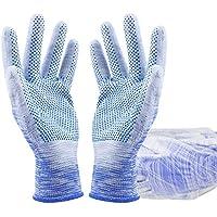 TT Guantes de lino recubiertos de Palma antideslizante cómodo trabajo transpirable guantes de protección (12 pares)