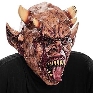Carnival Toys - Máscara de látex zombi con lengua afuera y cuernos con encabezado, multicolor (738)