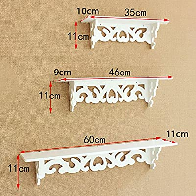 Apgstore Set of 3 Shabby Chic Style Floating Wall Shelves Bookshelf White Wall Mounted Decorative Display Wall Shelf Storage Rack