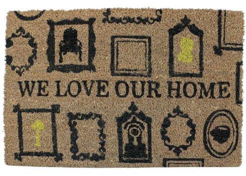 Fußmatte - We love our Home - Fußabtreter Kokosfußmatte gelb