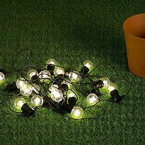 20 Warm White LED Premium Festoon Outdoor Garden Clear Globe String Lights - IP44 Rated