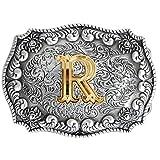 Bai You Mei Classico Western Lettere Maiuscole Placcatura Oro Metallo Cowboy Fibbie Per Cinture Uomo Fibbie Per Cinture R