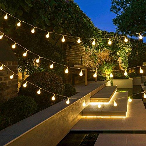 LED Solar Lichterkette Außen,DINOWIN Wasserdichter Garten Lichter 23ft/7M 50 LED Globe Lichterkette ,Innen und Außen Deko Glühbirne,Weihnacht Sbeleuchtung für Hochzeit,Party,Weihnachtsbaum (Warmweiß)