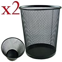 Zuvo Square Metal Mesh Waste Paper Bin Lightweight Black Pack of 2