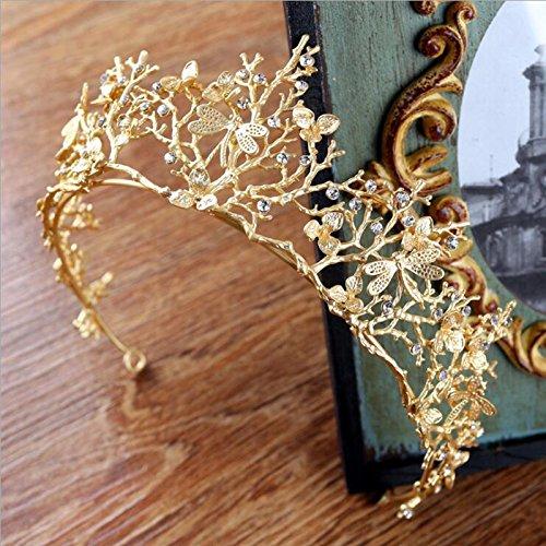 TOOGOO Vintage Barock Hochzeit Braut Haarschmuck Libelle Frauen Gold Krone Stirnbaender