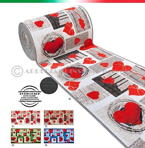 Arrediamoinsieme-nelweb tappeto cucina cuori tessitura piatta retro antiscivolo moderno multiuso corridoio bagno camera mod.fakiro14 50x115 marrone (c)