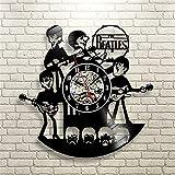 Vinylaufzeichnung-Uhr-Beatles-Form-Muster-Schwarz-Durchbrochene Familien-Kunst-Wanduhr verwendbar für für Wohnzimmer Schlafzimmer Badezimmer-Korridor-Treppen-Wand-Flur dekorativ