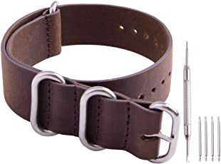 Ritche Genuine Leather NATO Strap 20mm Rich Brown Replacement timex Weekender Watch Band