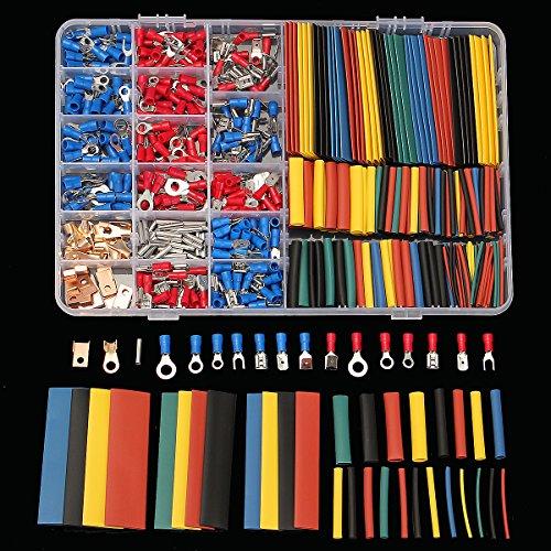 KUNSE Soloop 350Pcs Klemmen Steckverbinder + 328Pcs 2:1 Schrumpfschlauch Assorted Box Kit
