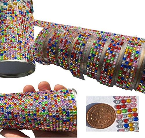 Set aus 8 Stück bunte Acryl Steine Glitzer Strass Band Tapes Strass Bänder selbstklebend Set Paket Klebeband bunt basteln Gltzerstein Bordüre...