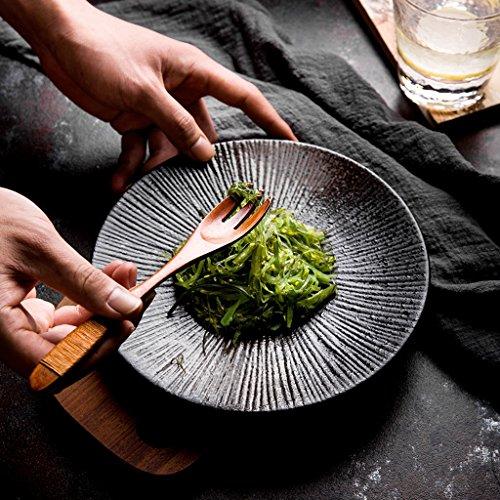 Xing Hua home Western Steak Teller Nudelgericht Haus Obstsalat Teller Gemüseteller kreative Persönlichkeit japanische Keramikschale schwarz (Size : 26x2.5cm)