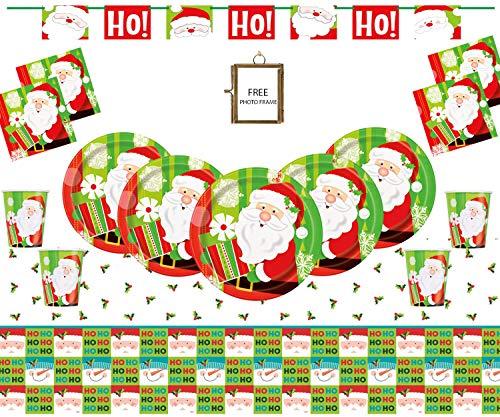 s Party liefert Weihnachten Party Geschirr Ho Ho Ho Santa Dekorationen für 32 Gäste-Free Photo Frame ()