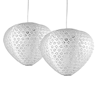 Pair of stunning ambient modern white domed plectrum shaped pair of stunning ambient modern white domed plectrum shaped chinese paper lantern ceiling pendant lamp shades amazon lighting mozeypictures Images