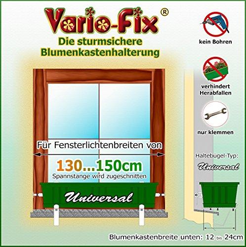 Vario-Fix Universal Haltebügel für 12cm Blumenkasten mit 150cm Spannstange (150)
