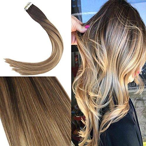Sunny 14pollice/35cm extension adesive capelli veri balayage marrone scuro ombra marrone con bionda remy lissi tape in extensions capelli umani 50grammo/20pezzi