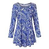 VEMOW Sommer Herbst Elegant Damen Oberteil Langarm O Neck Printed Flared Floral Beiläufig Täglich Geschäft Trainieren Tops Tunika T-Shirt Bluse Pulli (Blau 2, EU-38/CN-S)