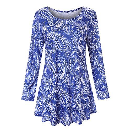 VEMOW Sommer Herbst Elegant Damen Oberteil Langarm O Neck Printed Flared Floral Beiläufig Täglich Geschäft Trainieren Tops Tunika T-Shirt Bluse Pulli (Blau 2, EU-42/CN-L)