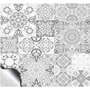 24 Fliesenaufkleber für Küche und Bad Mosaik Wandfliese Aufkleber für 10x10 cm Fliesen Fliesen-Aufkleber Folie Deko-Fliesenfolie für Küche u. Bad (TP15 4