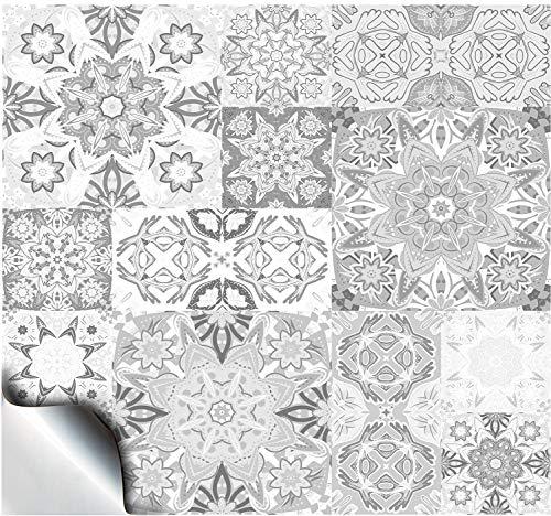 """24 Fliesenaufkleber für Küche und Bad Mosaik Wandfliese Aufkleber für 10x10 cm Fliesen Fliesen-Aufkleber Folie Deko-Fliesenfolie für Küche u. Bad (TP15 4\"""" White & Greys)"""