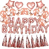 Decoration Anniversaire Rose Gold Fille Happy Birthday Ballon Confettis Or Deco Kit + Tassel Guirlande pour 16 17 18 20 30 Ans