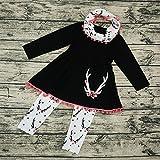 XINAINI Strampler + Hosen + Schal 3pcs Outfits SetNeugeborenes Xmas Baby Junge MäDchen Erste Weihnachten Hirsch Weihnachtsmann Kleidung Set(110/5 Jahre Alt,Schwarz)
