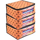 PrettyKrafts Saree Cover Set of 3 Large Flower Prints/Wardrobe Organiser/Clothes Bag_Orange