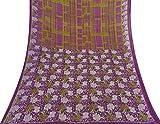 Vintage Saree Baumwolle Seide Lila Printed Indian Sari