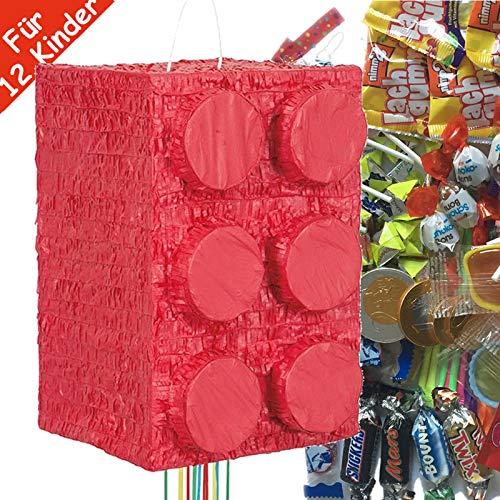 Pinata-Set * BAUSTEINE * mit großer Zug-Piñata + 100-teiliges Süßigkeiten-Füllung No.1 von Carpeta | Spanische Zugpinata für bis zu 12 Kinder | Tolles Spiel für Kindergeburtstag