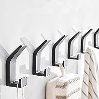 Self Adhesive Hooks 6 Pack, Adispotg Space Aluminum Adhesive Wall Hanger for Robe, Coat, Towel, Keys, Bags, Home…