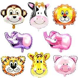 ED-Lumos 2 Stili Palloncini ad Elio Decorazione per Bambini Forma Animali Palloncini in Alluminio Dimensione Multicolore di Ogni 45x45cm
