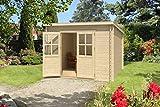 Gartenhaus G202 - 28 mm Blockbohlenhaus, Grundfläche: 7,40 m², Pultdach