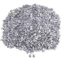 Yibuy 2000 Piezas de Aluminio Ovalado de ferrilla Crimp Stop Sleeve M1 para Cuerda de Alambre de 0,04 Pulgadas