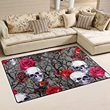 JSTEL INGBAGS Super Soft Modern Skulls Rose Flowers And Branches Watercolor Area Rugs Living Room Carpet Bedroom Rug for Children Play Solid Home Decorator Floor Rug and Carpets 60 x 39 Inch