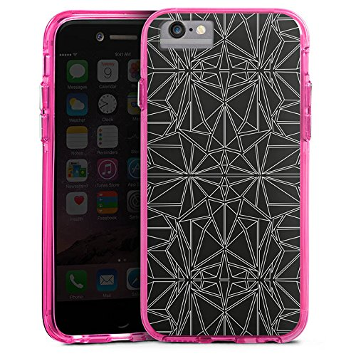 Apple iPhone 7 Bumper Hülle Bumper Case Glitzer Hülle Black and White Pattern Muster Bumper Case transparent pink