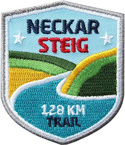 2 x Neckar-Steig Abzeichen gestickt 51x 60 mm / Neckar Wanderweg / Aufnäher Wappen Sticker Patch / Neckartal Odenwald Heidelberg Wander-abzeichen Fluss-Wanderung Wanderführer Touren-Karte Reiseführer