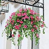 YOSPOSS künstlichen Blumenampel Blumenkasten kz9524-w770Seide Morning Glory Blumen Terrasse Rasen Garten Blumenampel Decor, Rot Outdoor Innen für Haus/Garten Dekoration (4Stück)