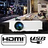 Flylinktech LED Pico Mini DLP Projecteur de poche 2500mAh batterie DLP support 1080p câble HDMI haute définition Home Cinéma pour iPhone/Android téléphone/Pad/ordinateur portable PC, d'une banque d'alimentation et batterie intégrée