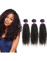 68456c97b9c1 Cheveux bresilien tissage crépus frisés naturels non traités Regroupe 3  Bundles Extensions lot de cheveux humains