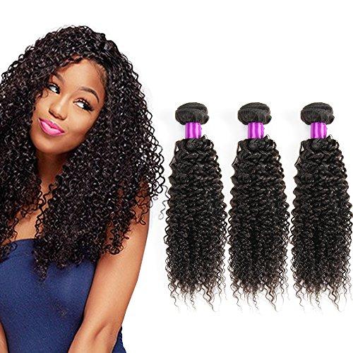 Cheveux bresilien tissage crépus frisés naturels non traités Regroupe 3 Bundles Extensions lot de cheveux humains pour femme noire Naturel Noir Couleur (10 12 14 Inch)