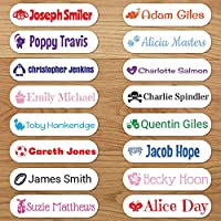 Personalised Iron On Name Labels - Choose Name, Text Colour, Font Preference & Motif