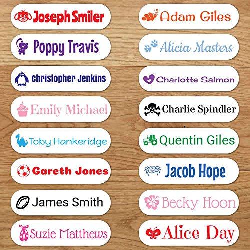 Personalisierte Bügeletiketten für Kleidung (48 Etiketten)