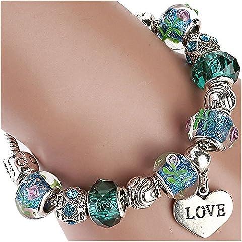 Colgante de la noche estrellada DIY de corazones de colores Glaze Beads Verde Pulsera Religiosa