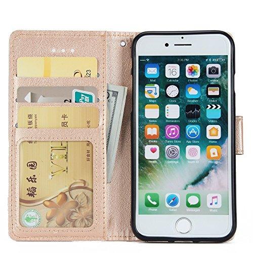 Classic Premiu PU Ledertasche, Horizontale Flip Stand Case Cover mit Cash & Card Slots & Lanyard & Soft TPU Interio Rückseite für iPhone 7 ( Color : Wine ) Gold