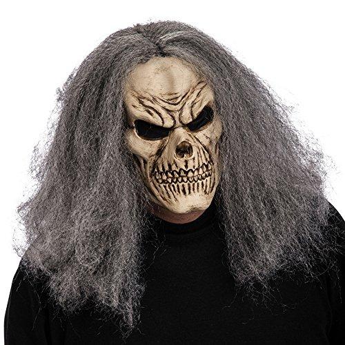Carnival Toys 1406 - Maske Skelett mit grauen Haaren
