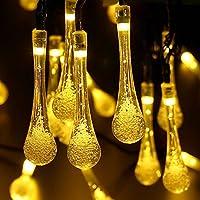6.4M 30 LED da Giardino goccia stringa solare di illuminazione di Natale da patio Tatuaggi acquatici natalizia Lampada,8 modalità (Costante, Flash) recinto impermeabile Decor partito (Bianco Caldo)