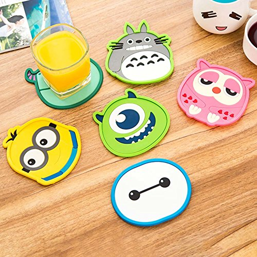JERN Set of 2 Silicone Cartoon animal Totoro Hello Kitty Baymax Cup Coaster Nonslip Place Mat pads Cup Cushion Minions Tea Cup Holder